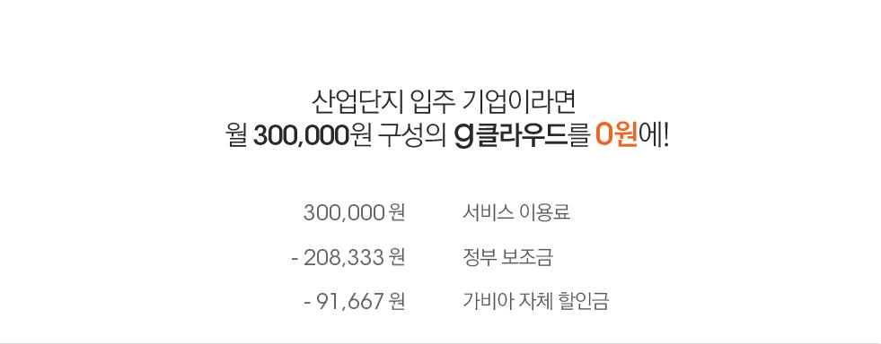 산업단지 입주 기업이라면 월 300,000원 구성의 클라우드를 0원에!