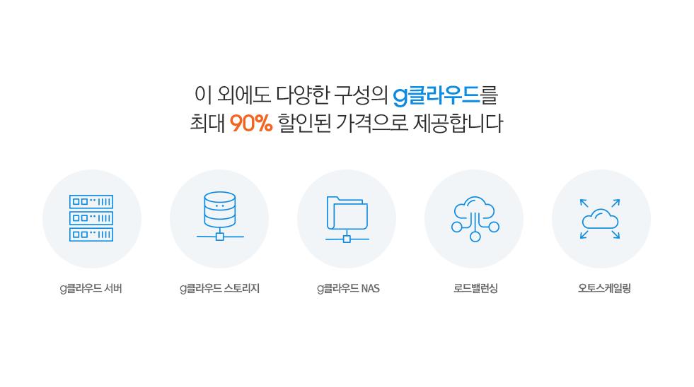 이 외에도 다양한 구성의 g클라우드를 최대 90% 할인된 가격으로 제공합니다.(g클라우드 서버, g클라우드 스토리지, g클라우드 NAS, 로드밸런싱, 오토스케일링)