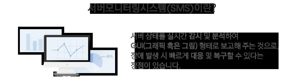 서버모니터링시스템(SMS)이란? 서버 상태를 실시간 감시 및 분석하여 GUI(그래픽 혹은 그림) 형태로 보고해 주는 것으로, 장애 발생 시 빠르게 대응 및 복구할 수 있다는 장점이 있습니다.
