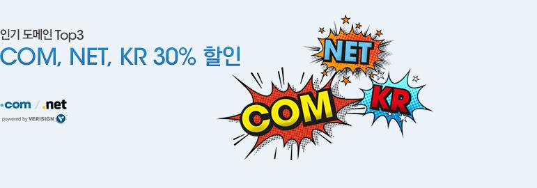 인기도메인 Top3 COM, NET, KR 30% 할인
